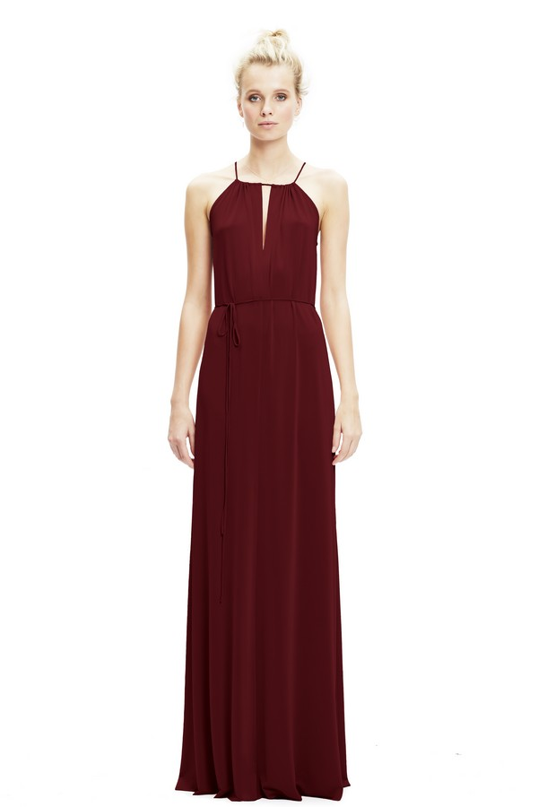Charlie Dress with Keyhole in Wine from Twobirds Bridesmaid Party Collection