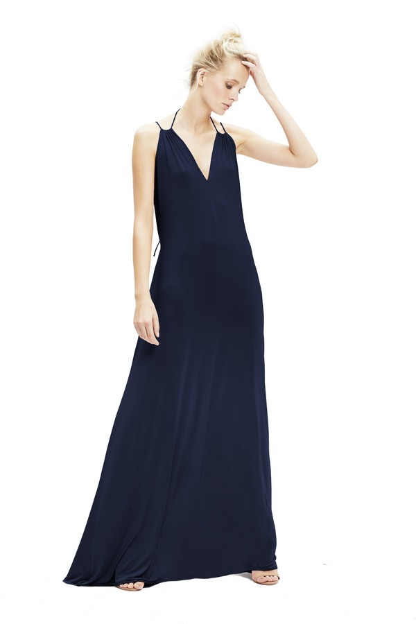 Charlie Dress with V-Neck in Navy from Twobirds Bridesmaid Party Collection