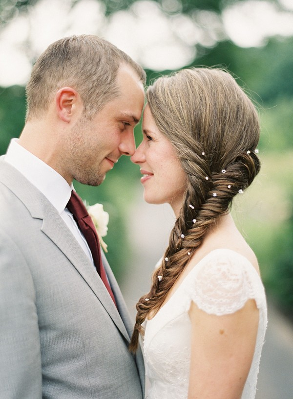 Bride with Fishtail Braid Hairstyle