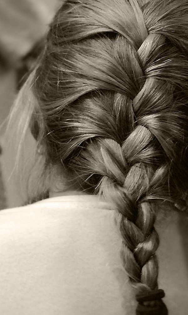 French Braid Hairstyle from Back