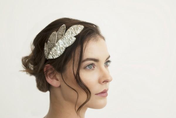 Grecian Silver Leaf Bridal Headband by Gillian Million and Amanda Wakeley