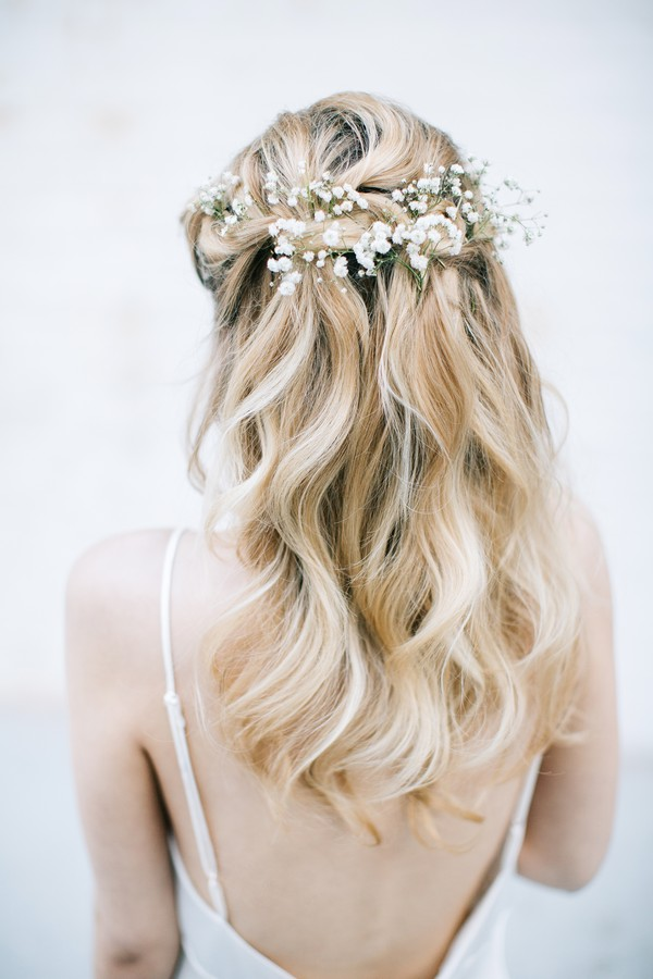 Loose Waterfall Braid Bridal Hairstyle from Back
