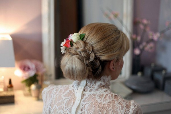 Low Chignon with Braided Band Hairstyle from Back