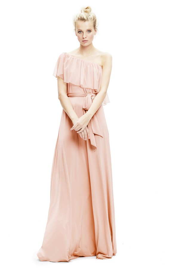 Maya Tulle Dress One Shoulder in Blush from Twobirds Bridesmaid Party Collection