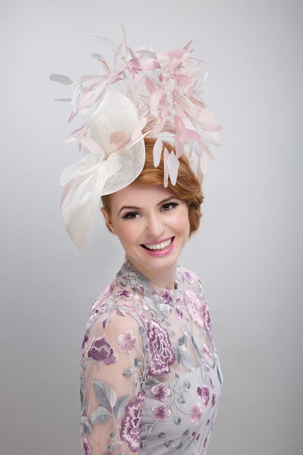 Pink and Cream Fascinator - Beverley Edmondson Millinery
