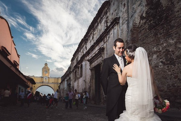 Bride and groom on the streets of Antigua, Guatemala