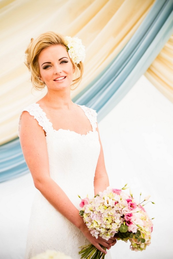 Bride with Voluminous Updo Hairstyle