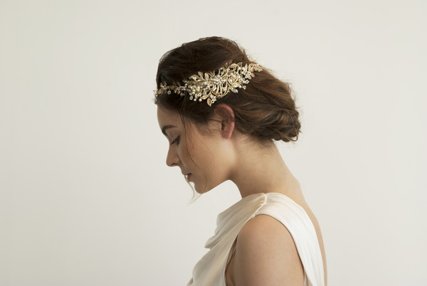Zinnia Gold Leaf Bridal Hair Comb by Gillian Million and Amanda Wakeley