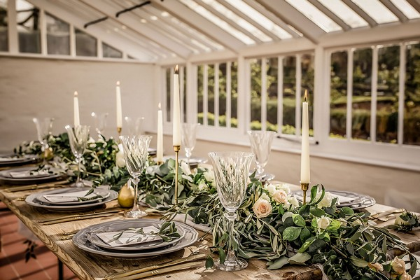 Rustic English countryside wedding table styling in Peach House at Sugnall Walled Garden