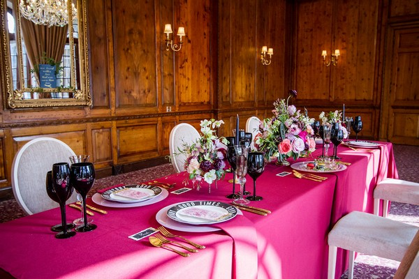 Wedding Table with pink tablecloth