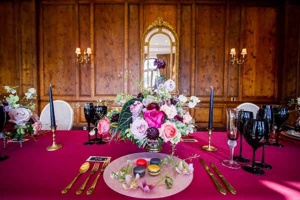 Wedding place setting with rich colour details