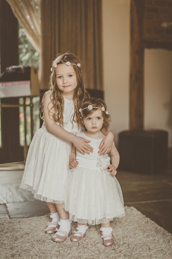 Two flower girls with flower headbands