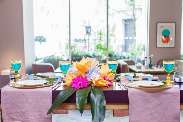 Wedding table with bright colourful styling