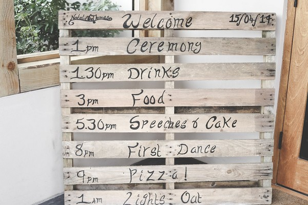 Wedding order of the day written on pallet