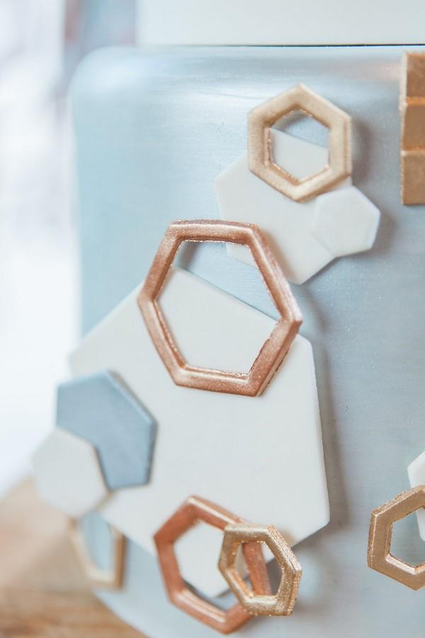 Copper hexagon cake detail