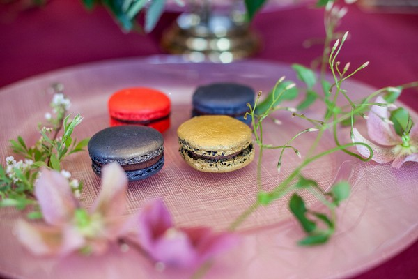 Richly coloured macarons