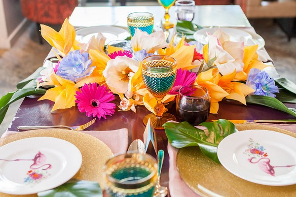 Bright and colourful wedding table styling