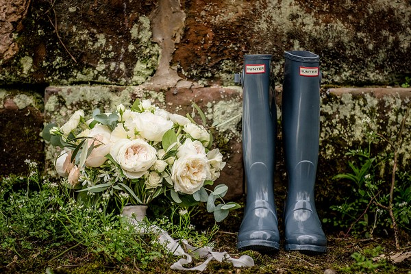 Bridal bouquet and Wellington boots