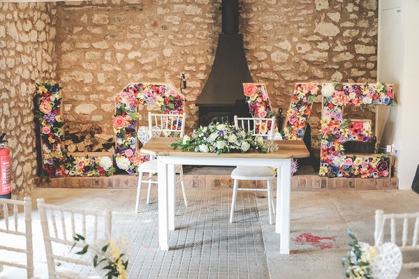 Wedding ceremony table at Quantock Lakes