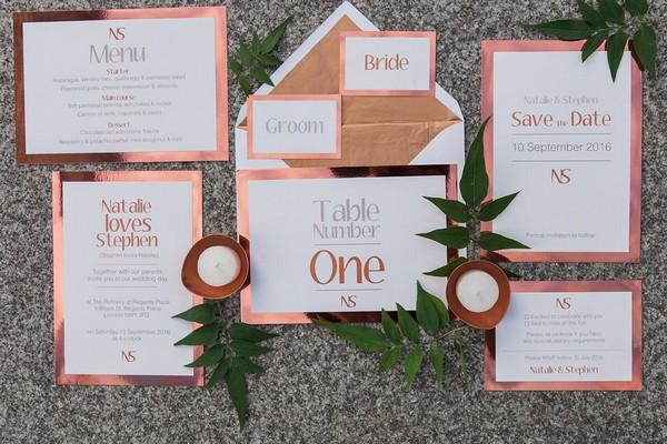 Copper wedding stationery