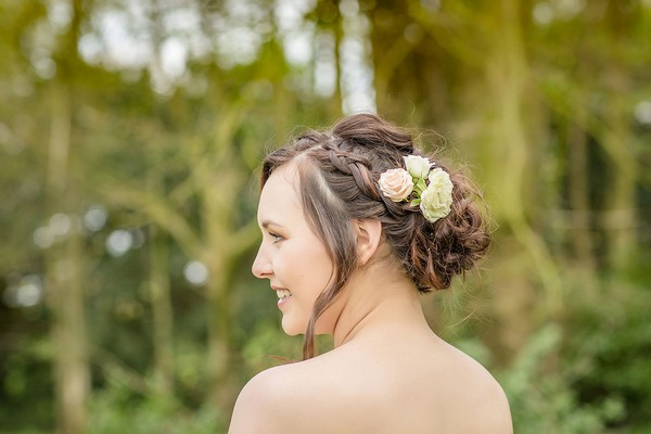 Bride with braided updo hairstyle