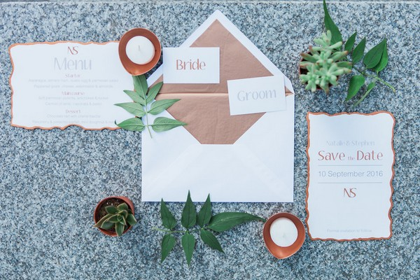 Copper lined envelope and wedding stationery
