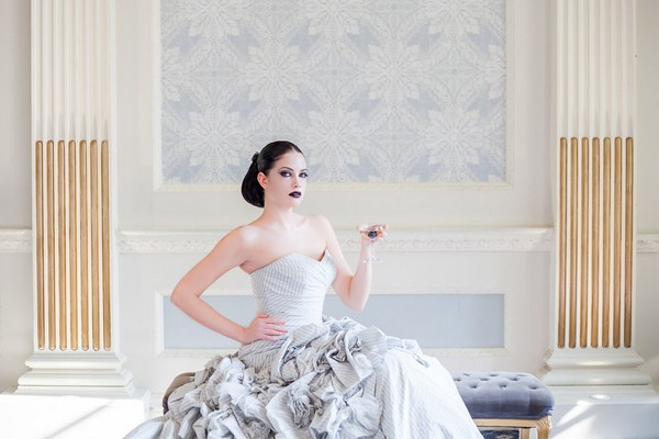 Bride in silver dress sitting