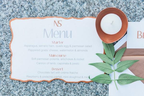Wedding menu with copper border