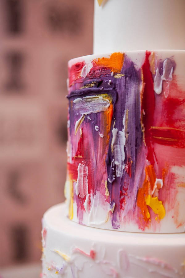 Art style smudged colour effect on wedding cake