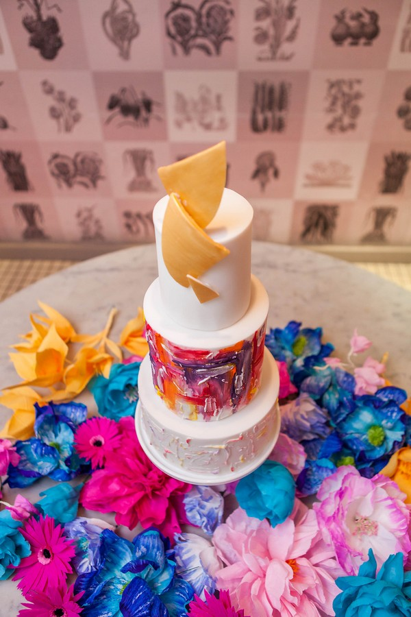 Wedding cake with colourful arty detail