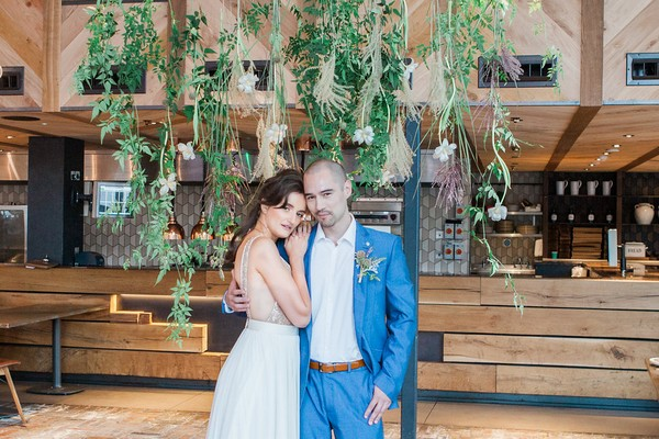 Bride and groom in The Refinery at Regents Place