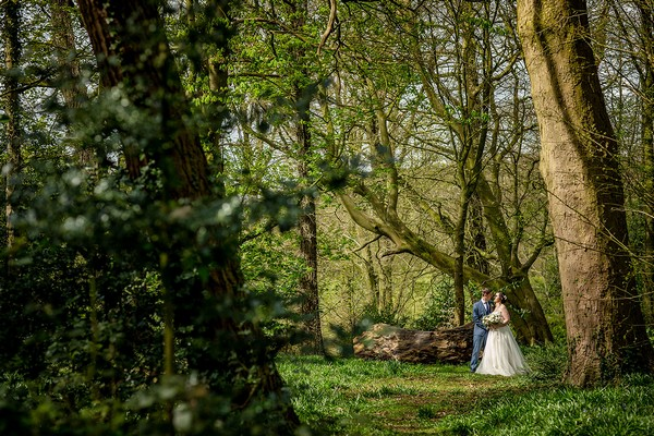 Bride and groom in woodland at Sugnall Walled Garden