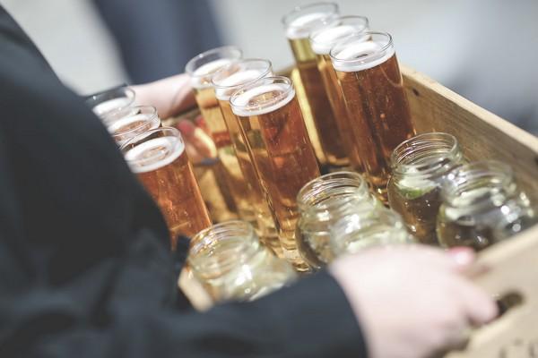 Tray of wedding drinks