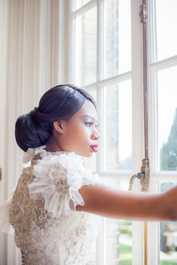 Bride with chignon updo hairstyle
