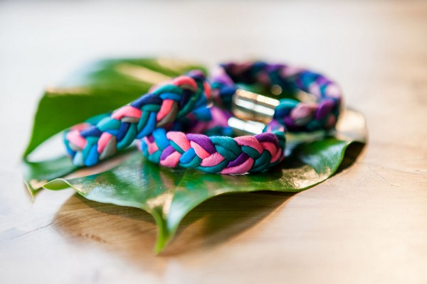 Pink and blue plaited hair bands