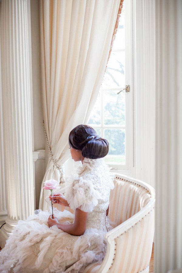Back of bride's chignon hairstyle