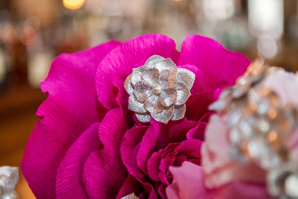 Silver and pink flowers