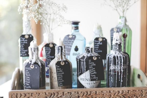 Gin bottle wedding table plan