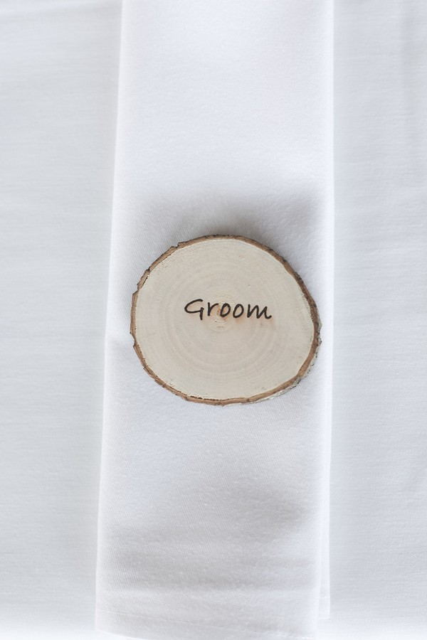 Groom wooden disc place name