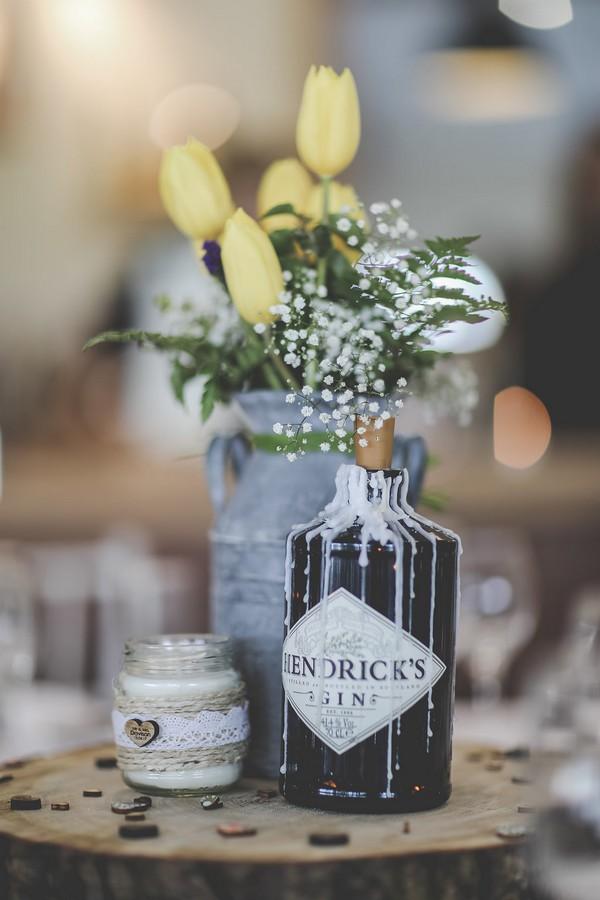 Flowers in gin bottle