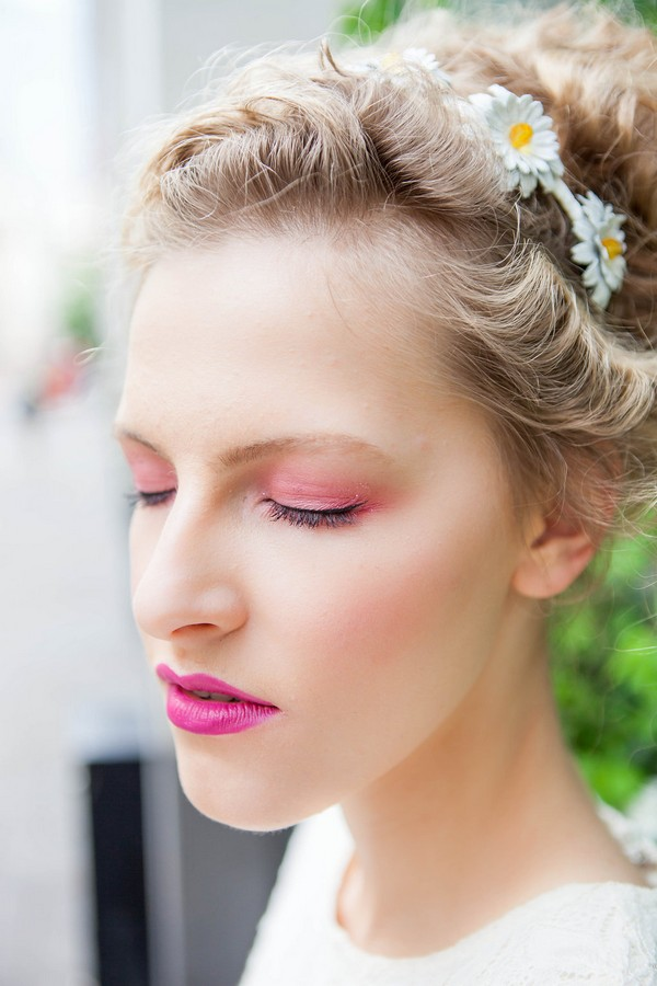 Bride with eyes shut showing pink eyeshadow