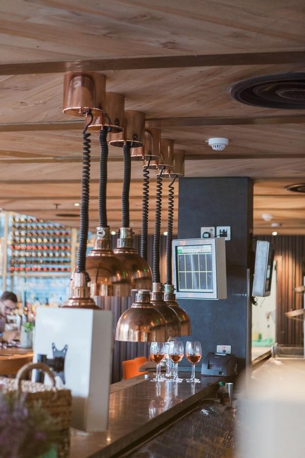Hanging copper lights