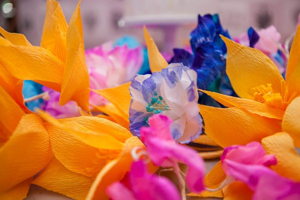 Brightly coloured tissue paper flowers
