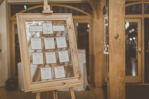 Wedding table plan in frame