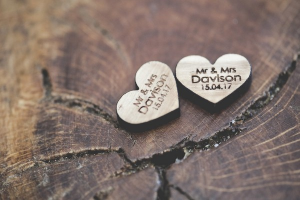 Small wooden wedding hearts