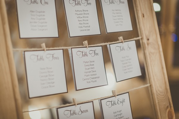 Seating plan cards pegged to string