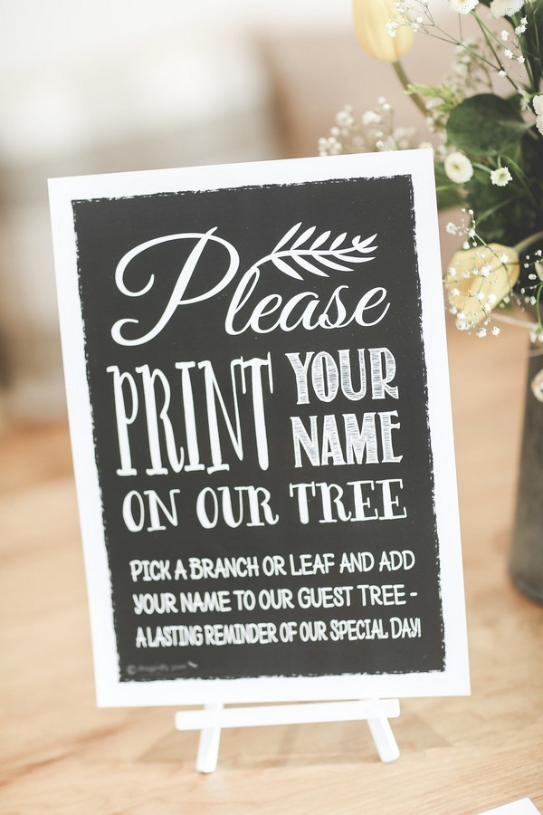Wedding guest tree sign