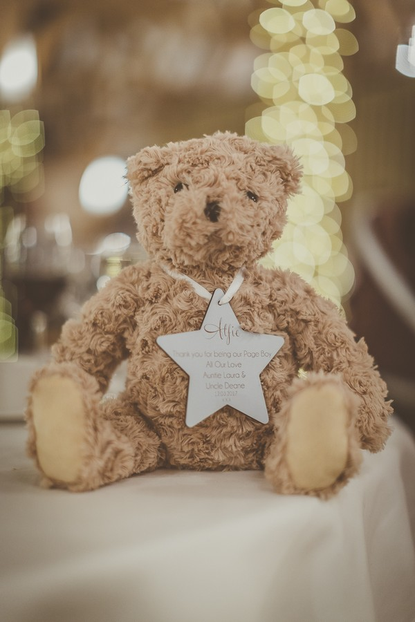 Teddy bear with star engraved with message