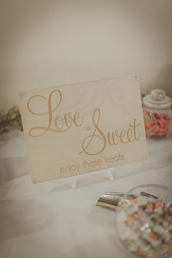 Love is sweet engraved wooden sign
