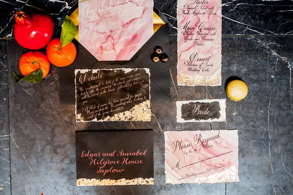 Pink and brown wedding stationery
